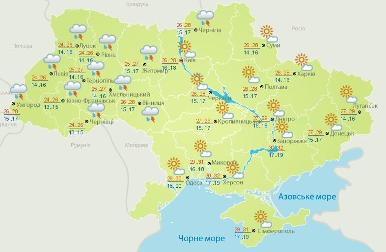 Карта погоды на 21 июля