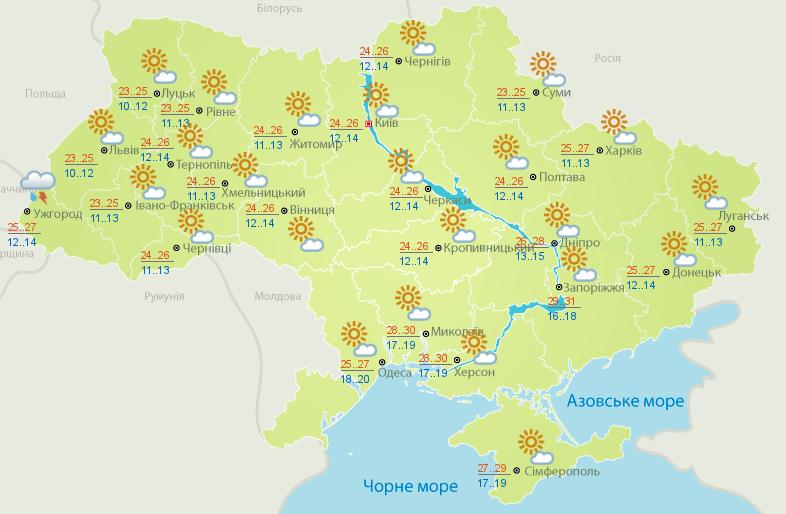 Карта погоды на 24 июля