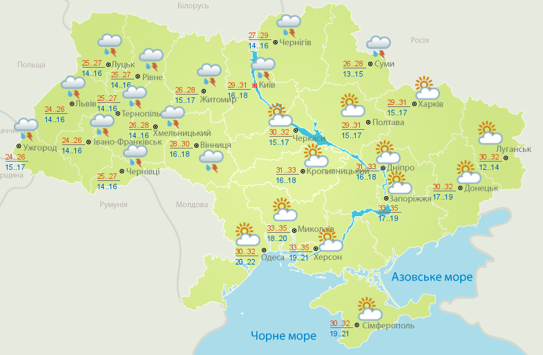 Карта погоды на 26 июля