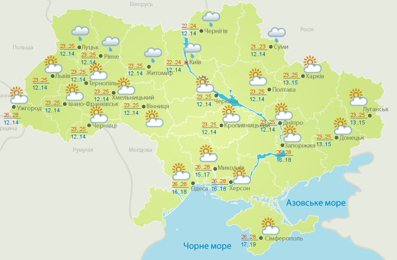 Карта погоды на 1 августа