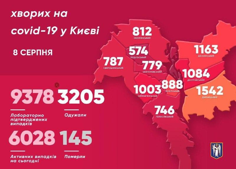 Карта заболеваемости коронавирусом в Киеве