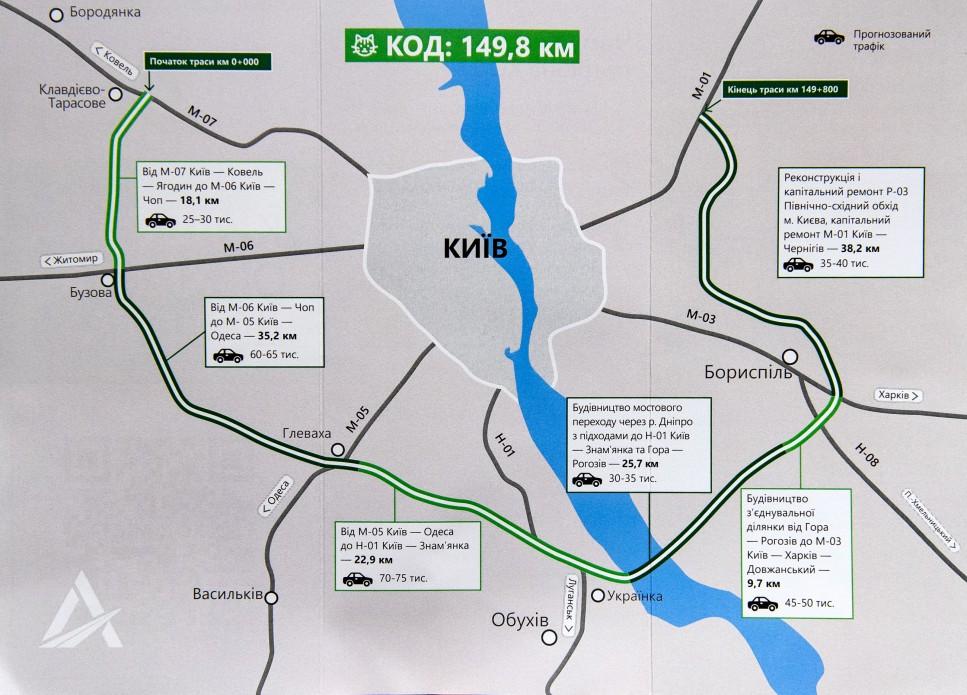 Вокруг Киева построят 150-километровую объездную дорогу. Карта