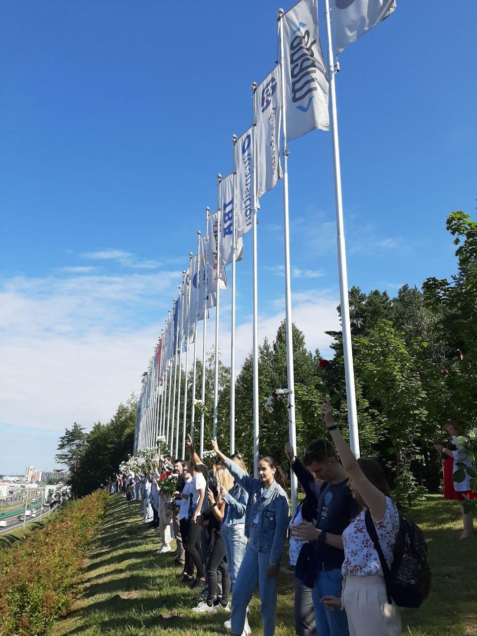 Сотрудники Парка высоких технологий протестуют в Минске. Фото: Telegram-канал