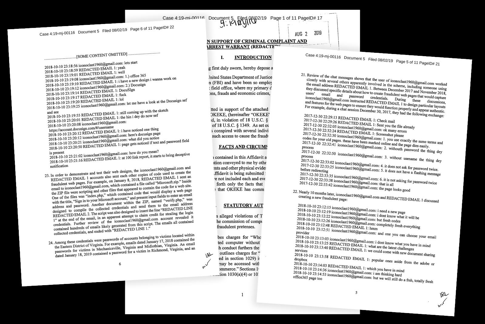 Материалы из дела, открытого ФБР против Океке