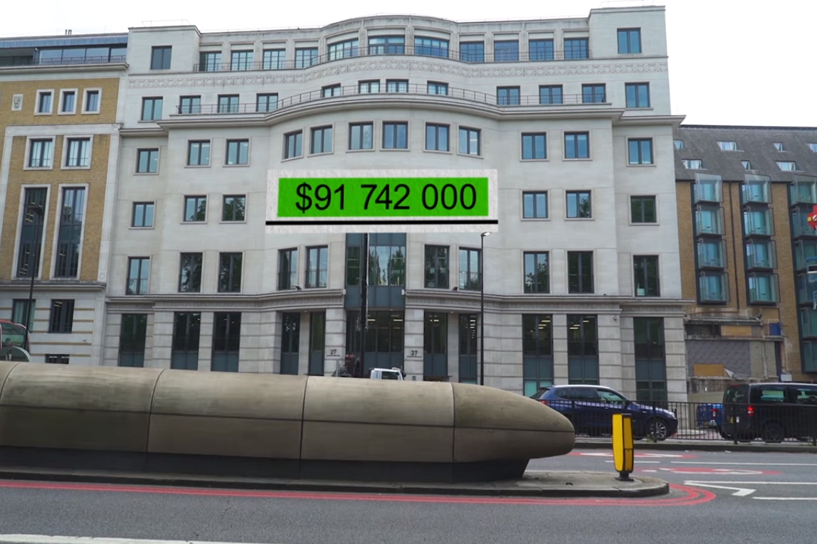 Офисный центр Боголюбова недалеко от Букингемского дворца. Скриншот из фильма Зірвати банк Слідство.Info