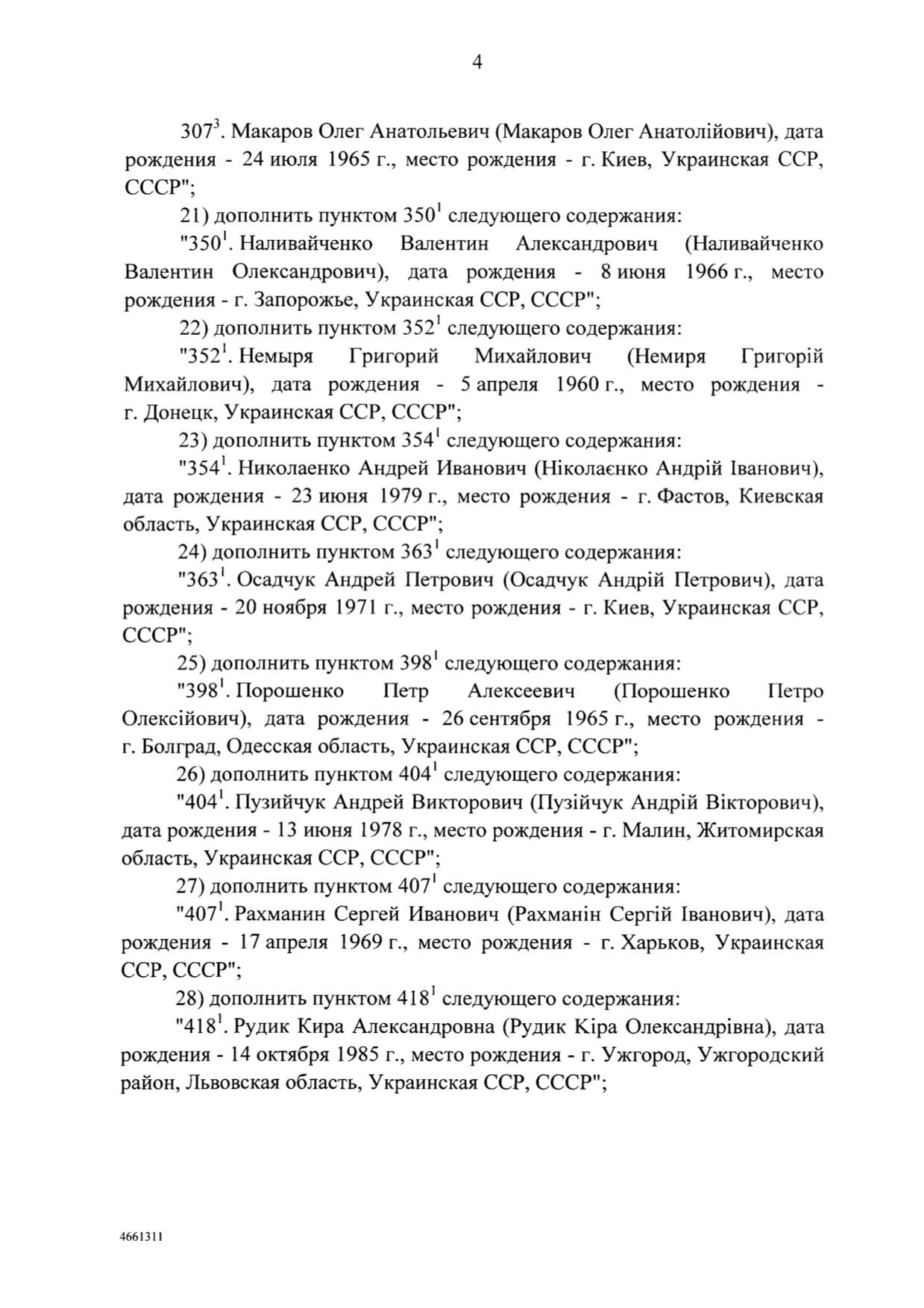 Постановление правительства РФ о санкциях против граждан Украины