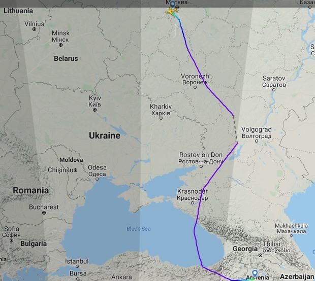 Российский президентский борт приземлился в Ереване: трек самолета