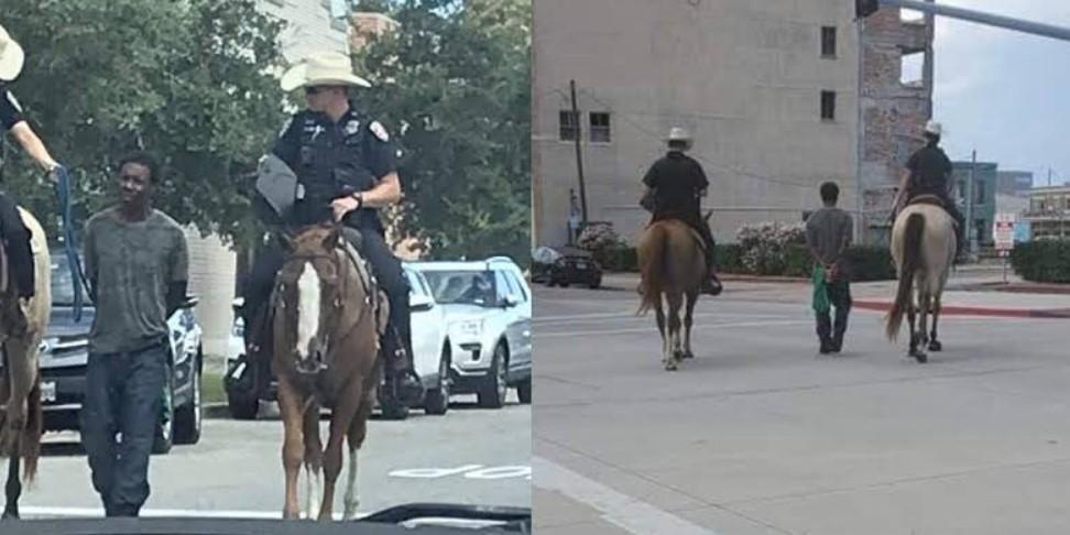 В США конная полиция на веревке провела задержанного темнокожего по городу: он подал в суд