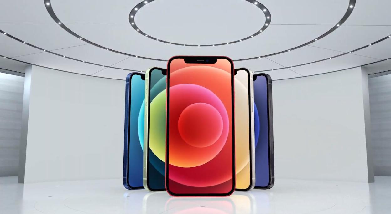 Цвета iPhone 12 и iPhone 12 mini. Скриншот из презентации Apple 13 октября