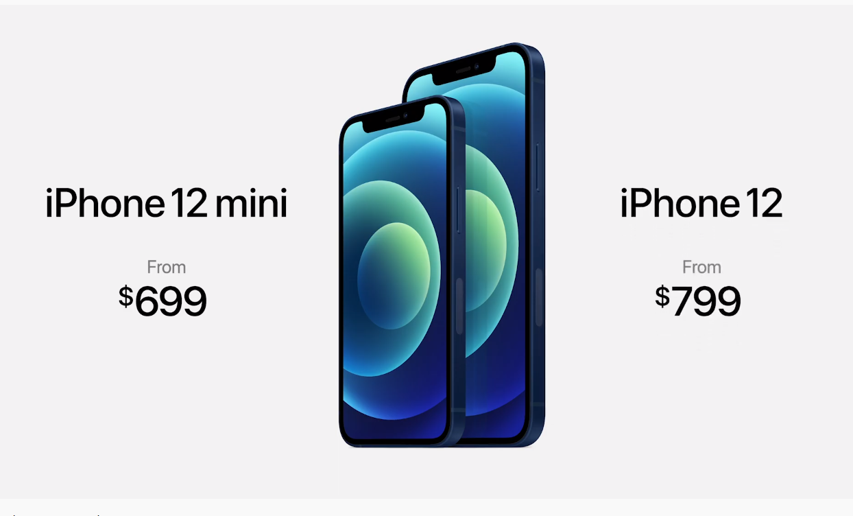iPhone 12 и iPhone 12 mini. Скриншот из презентации Apple 13 октября