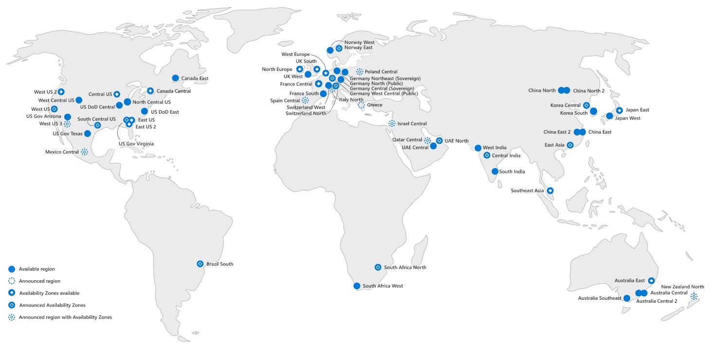 Карта дата-центров Microsoft Azure