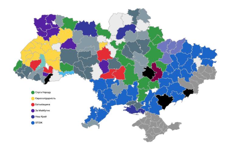 Результаты местных выборов-2020. Районные советы. Карта LIGA.net