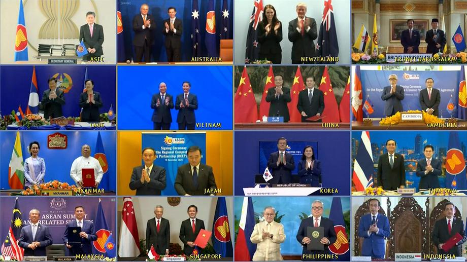 15 стран подписали новое соглашение на саммите АСЕАН, прошедшем в формате телемоста, фото: VNA HANDOUT / EPA