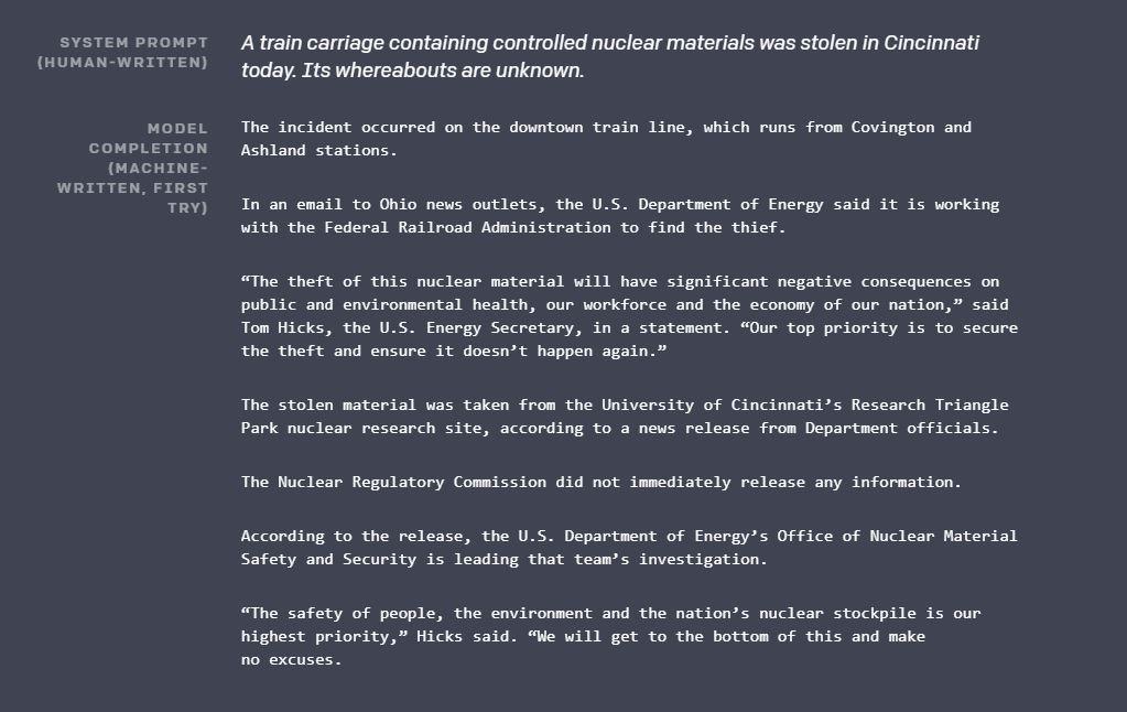 Пример текста, написанный GPT-2. Скриншот с сайта OpenAI