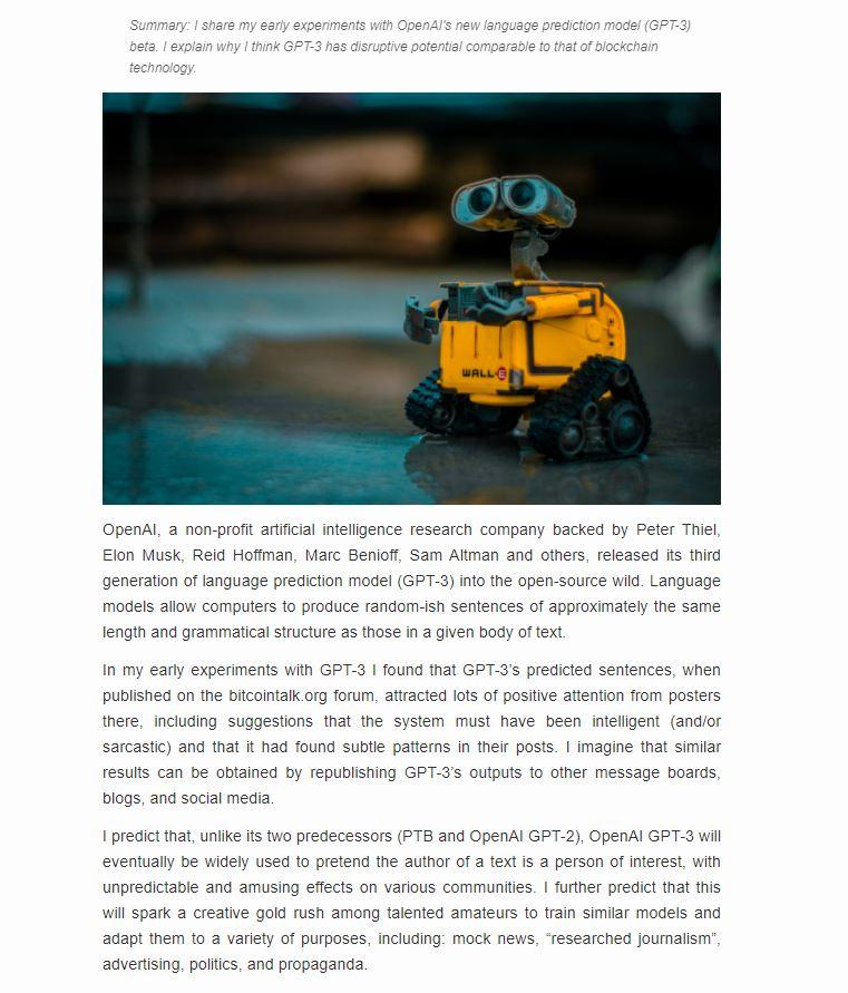 GPT-3 рассуждает о прогрессе GPT-3. Скриншот с сайта maraoz.com