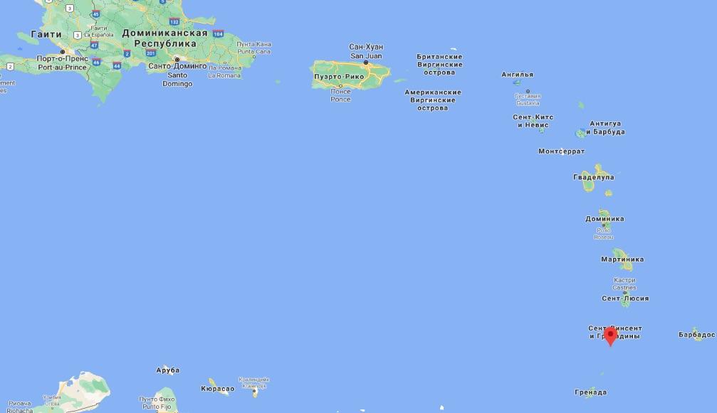 Сент-Винсент и Гренадины (Скриншот Google maps)