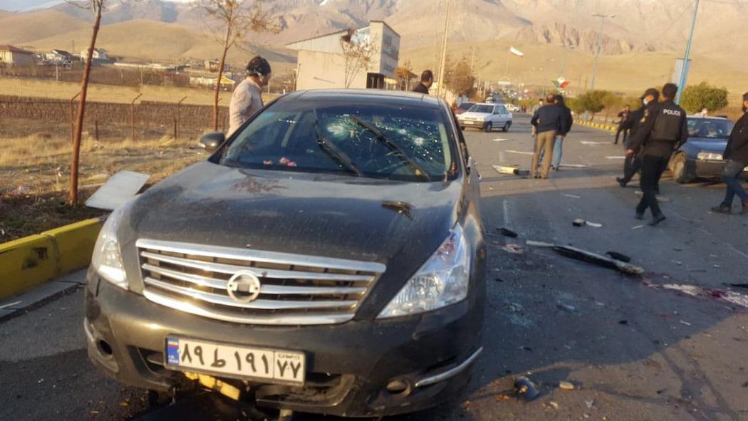 Место убийства Мохсена Фахризаде (Фото: EPA-EFE/IRIB)