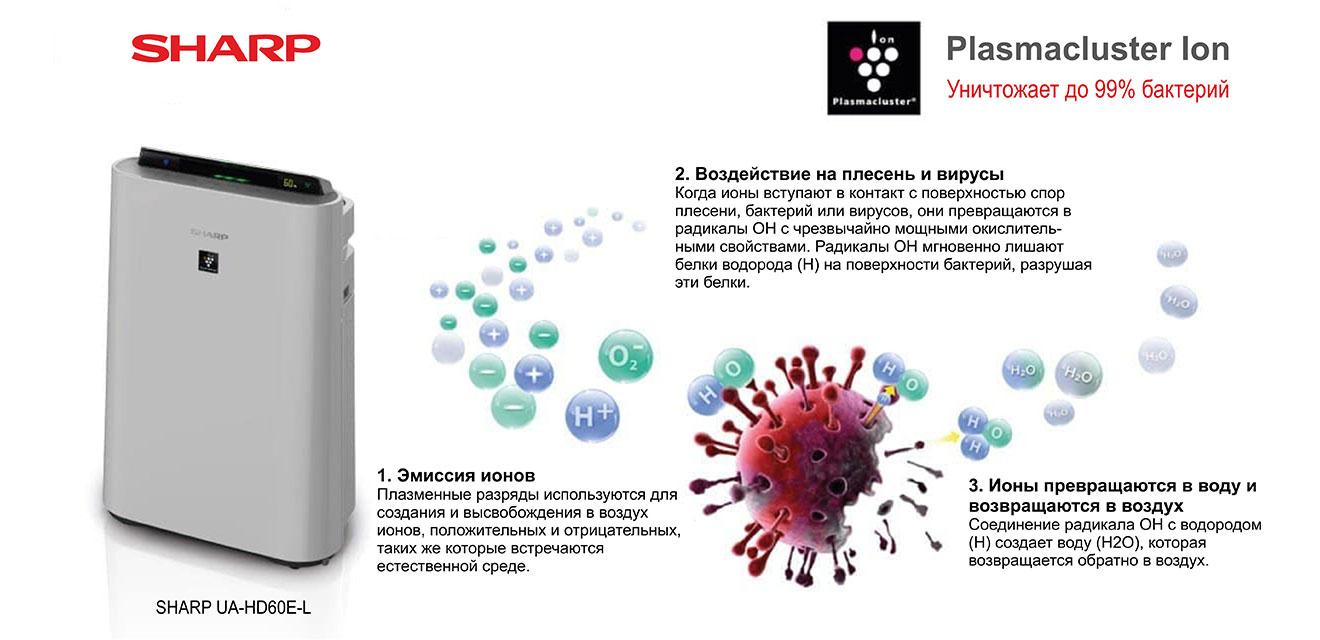 Технология Plazmacluster в воздухоочистителях Sharp уничтожает 91,3% вируса COVID-19