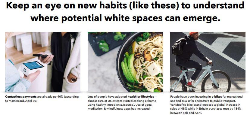 Новые привычки в период СOVID – бесконтактная оплата, здоровый образ жизни, электронные велосипеды. Скриншот LIGA.net, фото: отчет Board of Innovation