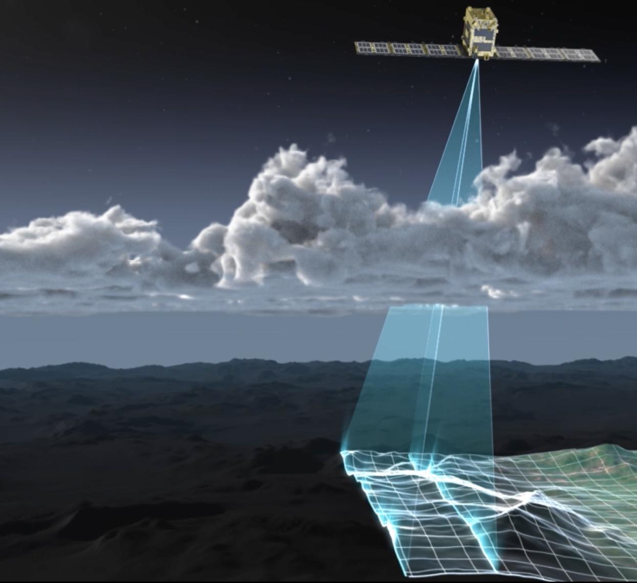 Спутник StriX-α сканирует поверхность Земли (иллюстрация — Rocket Lab)