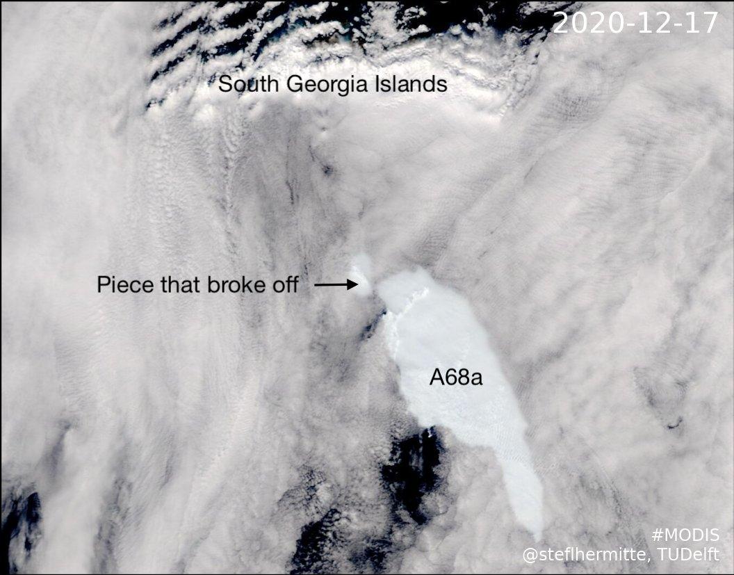 От гигантского айсберга A68a откололся обломок в 150 квадратных километров