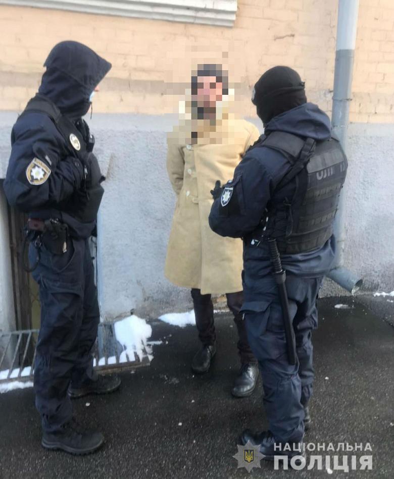 Задержание вооруженного человека в правительственном квартале (Фото: пресс-служба полиции Киева)