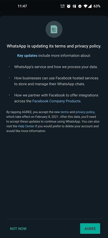 Новые правила конфиденциальности WhatsApp. (Скриншот из WhatsApp)