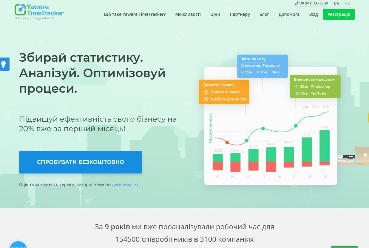 Yaware.TimeTracker. Скриншот с сайта