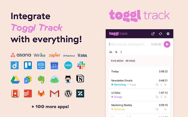 Приложения, с которыми интегрируется Toggl. Скриншот с сайта