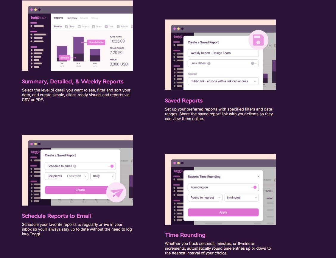 Toggl. Скриншот с сайта