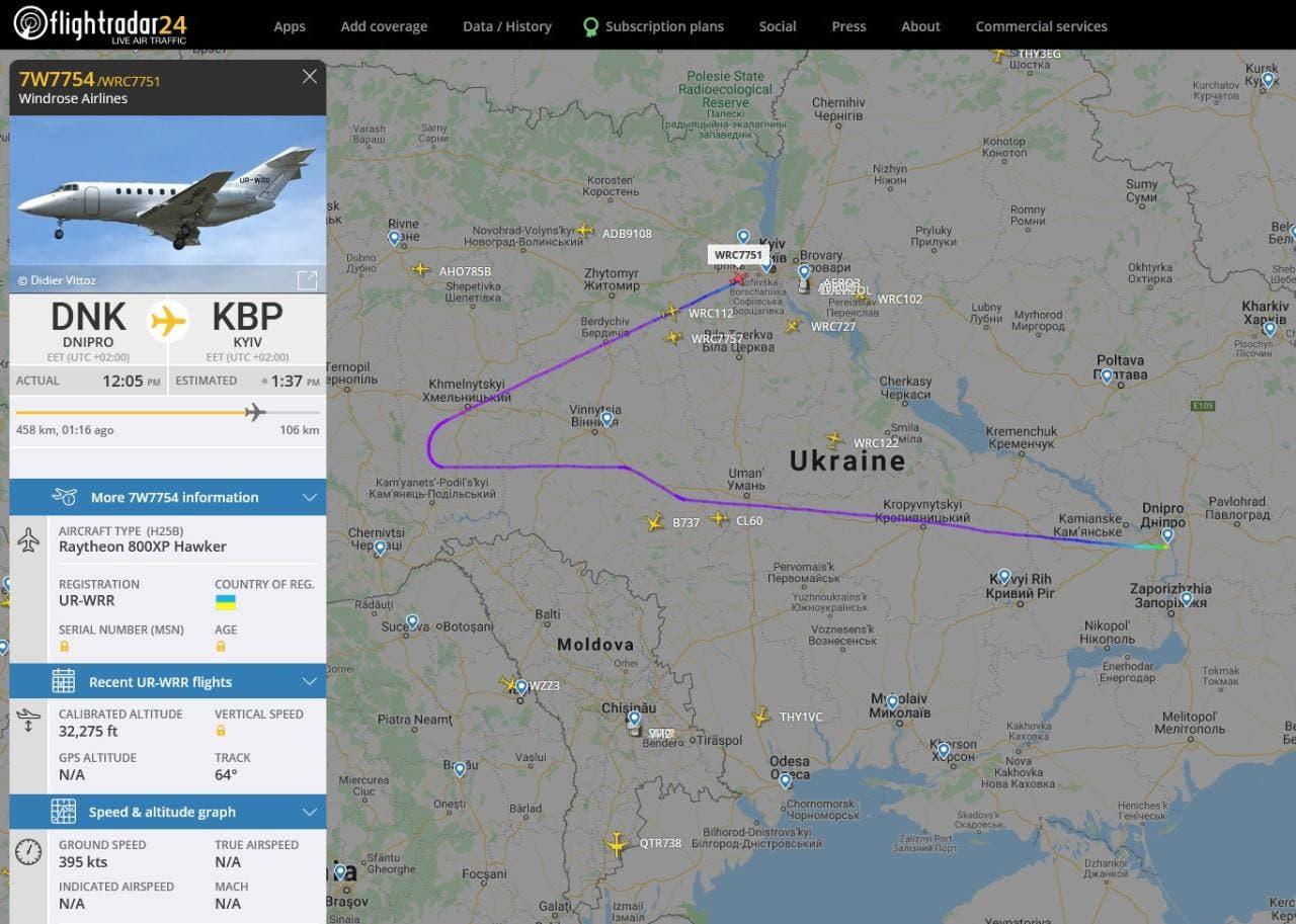 Карта полета самолета, на котором летел Владимир Яценко. Источник: телеграм канал