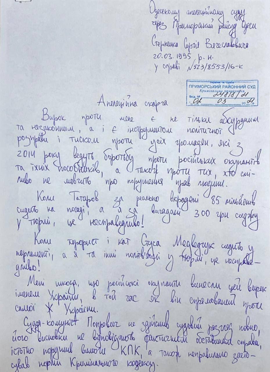 """""""Зеленского кто-то хочет подставить"""". Стерненко записал обращение из суда – видео"""