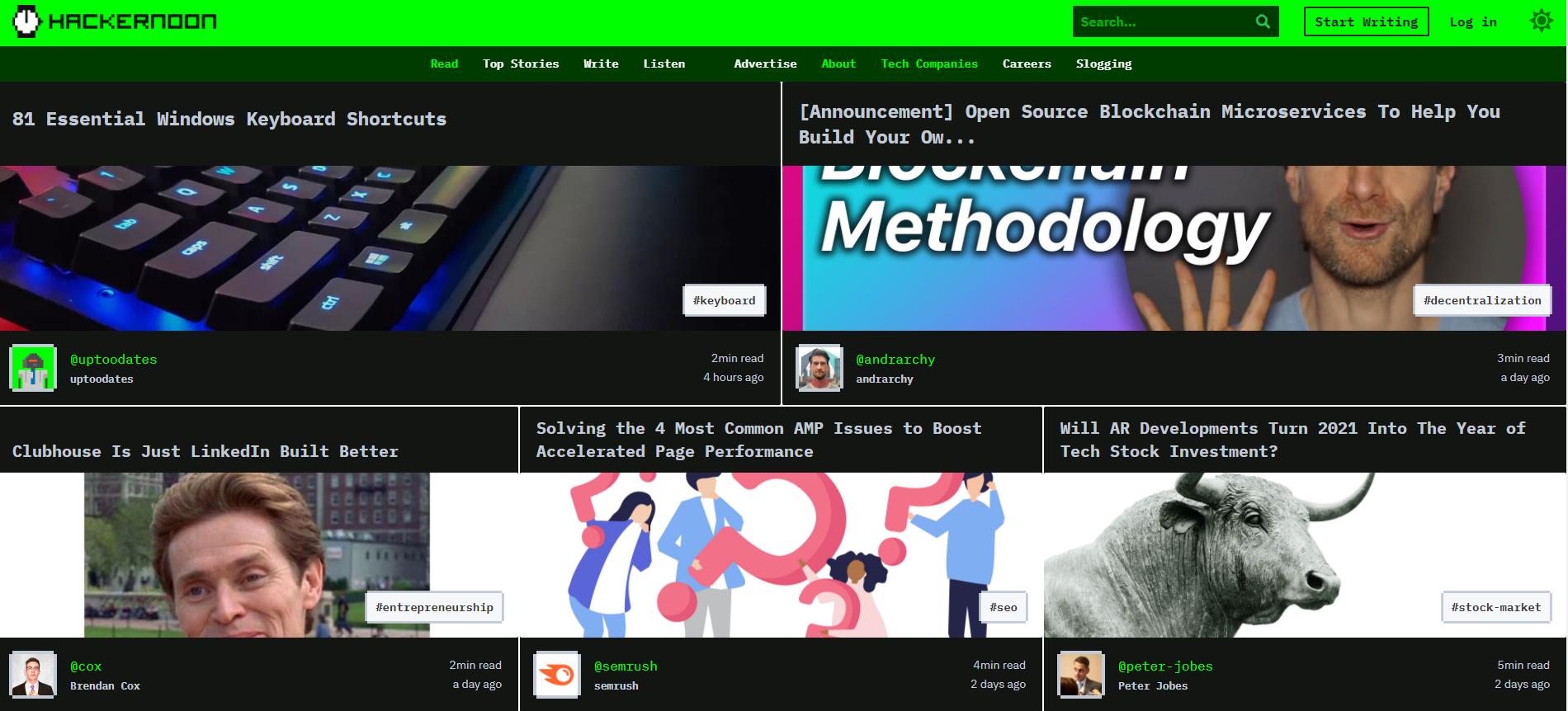 Hacker Noon. (Скриншот с сайта издания)