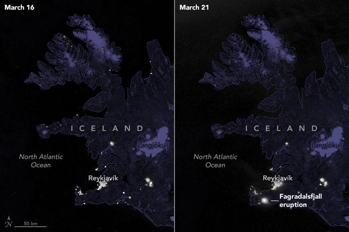 Похоже на город. NASA показало из космоса извержение вулкана у столицы Исландии – фото