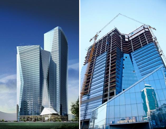 Проект Sky Towers (слева) и недострой в реальности (справа, фото: depositphotos.com)