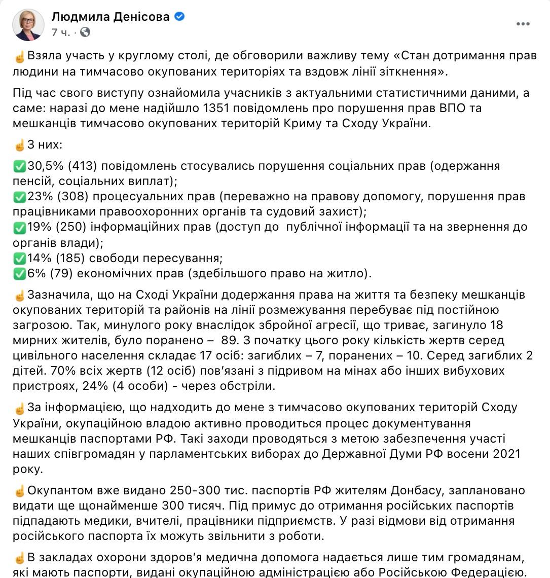 Росія роздала на Донбасі 300 000 своїх паспортів, і планує ще стільки ж – Денісова