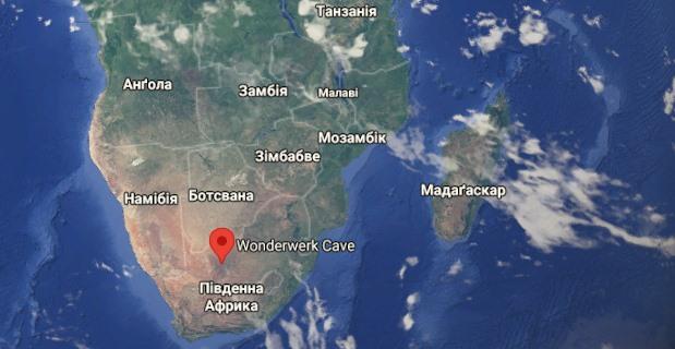 Место пещеры на карте юга Африки