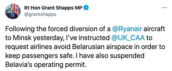 Захват самолета Ryanair. Великобритания не будет летать над Беларусью и работать с Белавиа