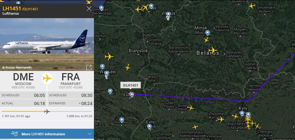 В небе над Беларусью почти нет самолетов: Lufthansa облетает через Украину – трекинг