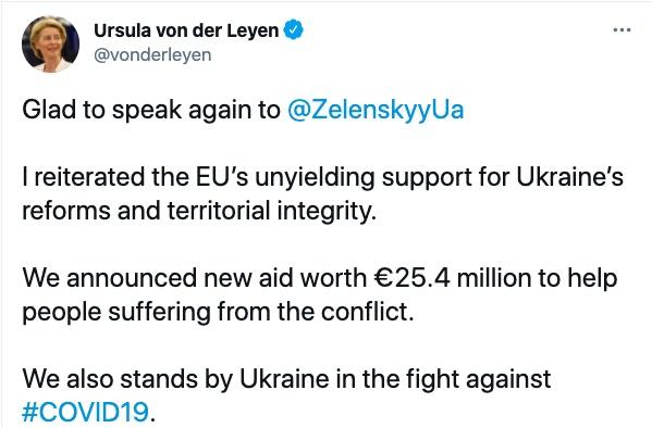 ЄС надасть €25 млн для постраждалих на Донбасі: підсумки бесіди фон дер Ляєн і Зеленського