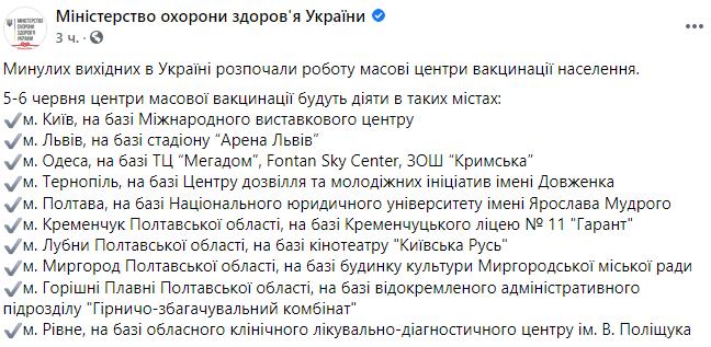 На выходных центры массовой вакцинации будут работать в 10 городах Украины: адреса