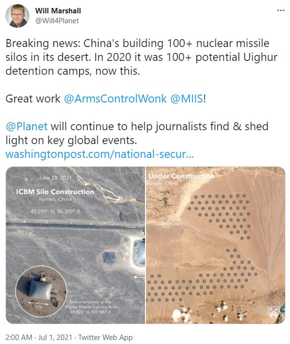 Китай может строить более 100 пусковых шахт для межконтинентальных ядерных ракет – WP