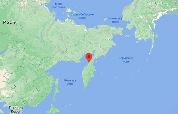 Палана на карте региона