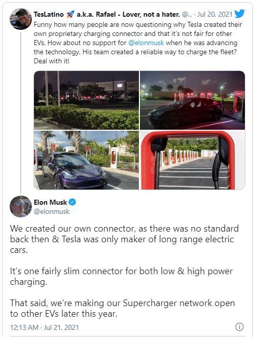Зарядки Tesla будут доступны для других электромобилей – Илон Маск