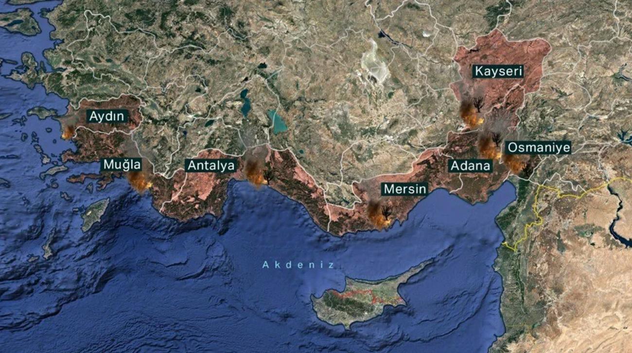 Пожары в Турции. Огонь добрался до Мармариса, Анталии и Бодрума – видео