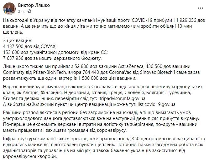 Ляшко: В Украину доставлены еще 1,5 млн доз вакцины от коронавируса, всего – почти 12 млн