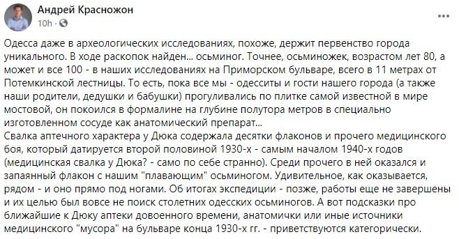 У Потемкинской лестницы. Археологи нашли в Одессе бутылку с 80-летним осьминогом – фото