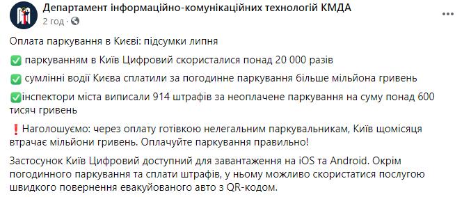 """Киев получил 1 млн грн от платных парковкок за месяц: миллионы потерял из-за """"нелегалов"""""""