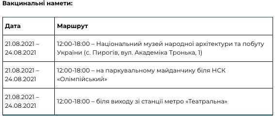Палатки и автобусы. В Киеве будут работать мобильные пункты вакцинации от COVID-19: адреса