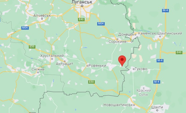 Вознесенск на карте Донбасса
